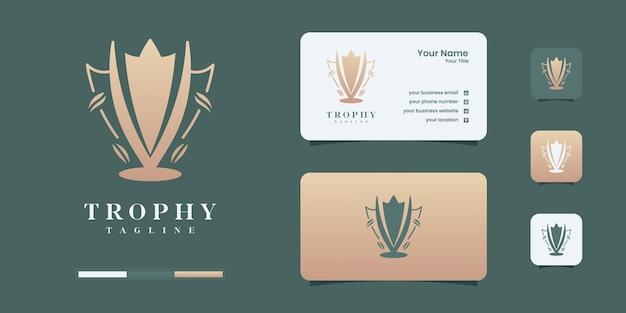 Icona del logo vettoriale del trofeo. icona del logo del trofeo dei campioni per i modelli di progettazione del logo del premio vincitore.