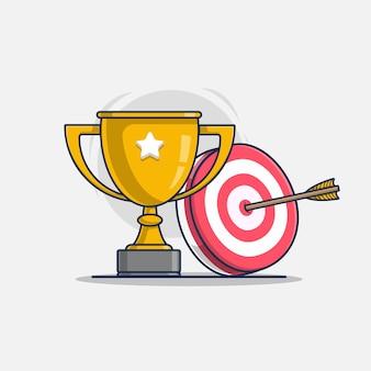 Trofeo con lo sport dell'illustrazione dell'icona di tiro con l'arco