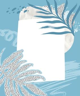 Sfondo collage tropicale con pennellate blu carta stropicciata e texture punteggiata di foglie tropicali