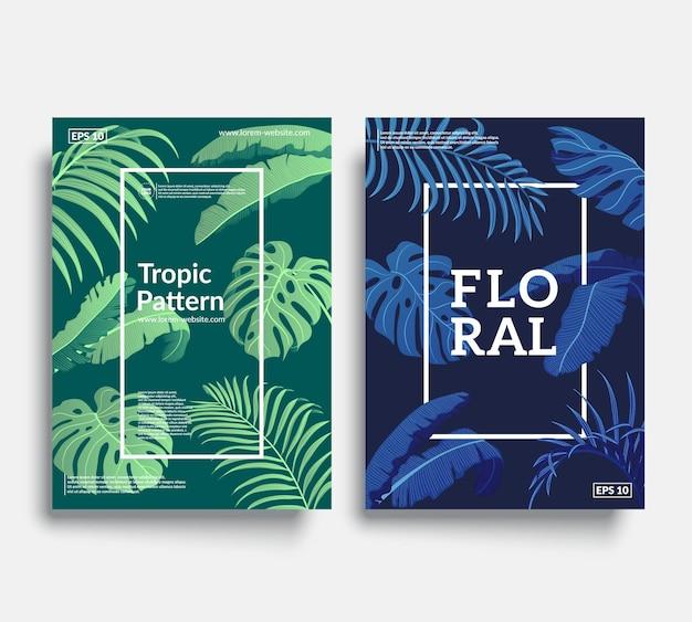 Set di copertine tropic con fantastici motivi floreali.
