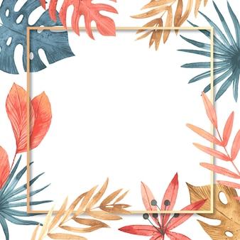 Sfondo di foglie tropicali con cornice per il vostro testo.