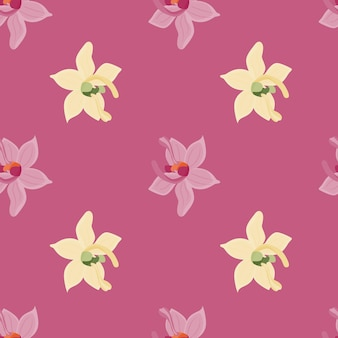 I fiori dell'orchidea tropicale modellano il modello senza cuciture nello stile di scarabocchio.
