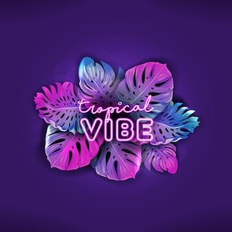 Banner vettoriale al neon estivo tropicale, poster di vacanze in spiaggia in discoteca, design di foglie di palma monstera, sfondo luminoso matrimonio tropicale, illustrazione festa paradiso, modello viola vibrante con posto di testo