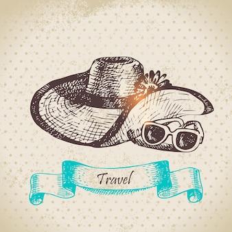 Sfondo vintage tropicale con cappello da spiaggia e occhiali da sole. illustrazione disegnata a mano