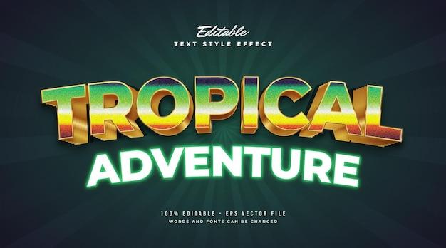 Testo di avventura tropicale in colorato stile di gioco retrò e effetto neon incandescente. effetto stile testo modificabile