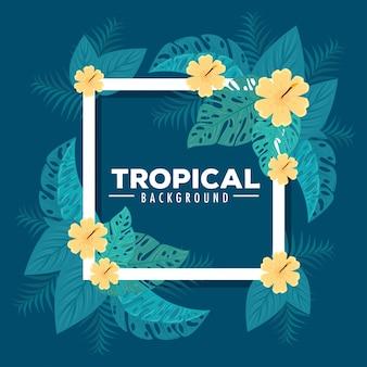 Sfondo tropicale, cornice di fiori di colore giallo con foglie tropicali, decorazione con fiori e foglie tropicali