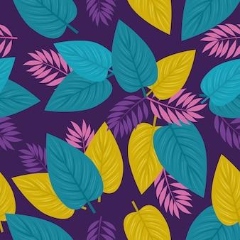 Sfondo tropicale, foglie viola, colori rosa e verdi, decorazione con foglie tropicali