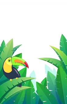 Sfondo tropicale con tucano uccello su foglie di palma. illustrazione