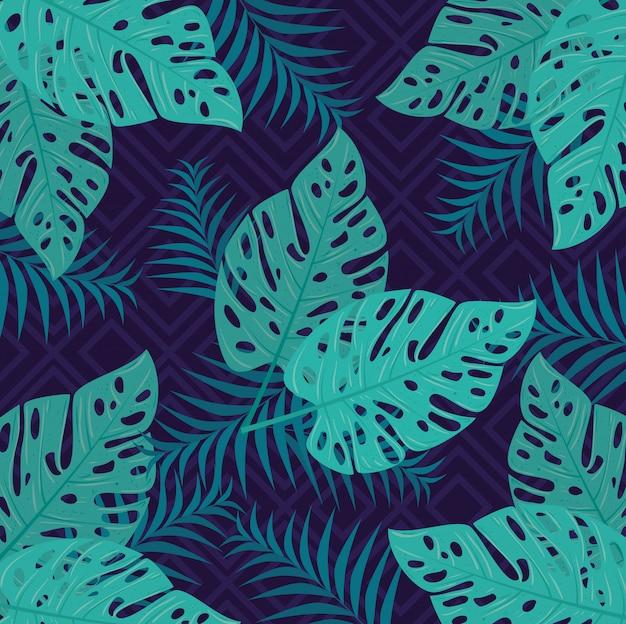 Sfondo tropicale con rami e piante della giungla, decorazione con foglie tropicali