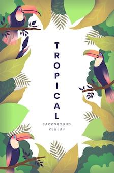 Sfondo tropicale con foglia e uccello tucano