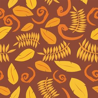 Sfondo tropicale con foglie. motivo floreale senza soluzione di continuità - vettore