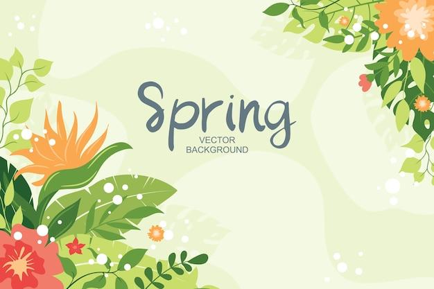 Sfondo tropicale con piante, foglie e composizione floreale, stile semplice e alla moda