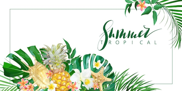 Banner tropicale con fiori e conchiglie. modello di vettore.