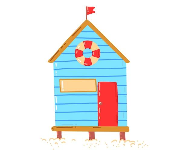 Casa sulla spiaggia tropicale, vacanze estive attive e calde, capanna al mare, illustrazione di stile del fumetto di progettazione, isolata su bianco. palma verde vicino al cottage, riposa sull'isola, accogliente edificio in legno