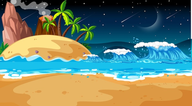 Scena di paesaggio spiaggia tropicale di notte