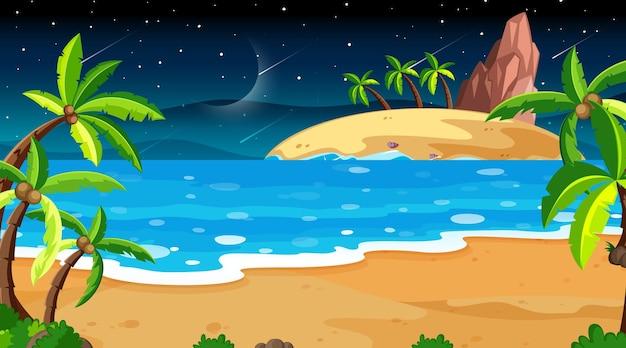 Scena di paesaggio di spiaggia tropicale di notte