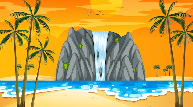 Paesaggio della spiaggia tropicale alla scena del tramonto con cascata