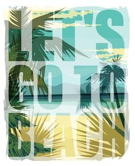 Stampa estate spiaggia tropicale con slogan.