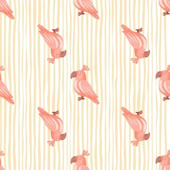 Reticolo senza giunte dell'uccello tropicale con stampa di pappagalli rosa doodle. sfondo pastello a righe. stampa dell'album.