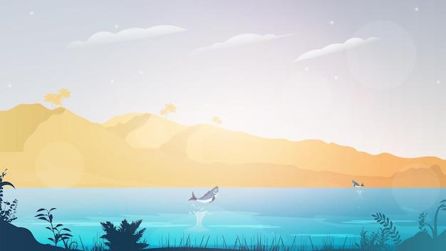 Mare blu tropicale e uno sfondo di spiaggia di sabbia.