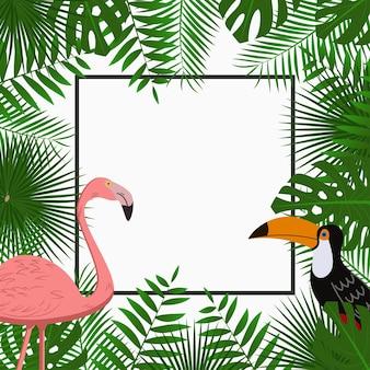 Modello di poster o banner di carta tropicale con foglie di palma giungla fenicottero rosa e tucano