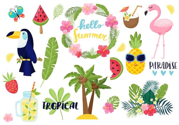 Una carta tropicale con foglie di palma e fiori esotici. il design della giungla estiva è ideale per volantini, cartoline, etichette e design unici. vettore