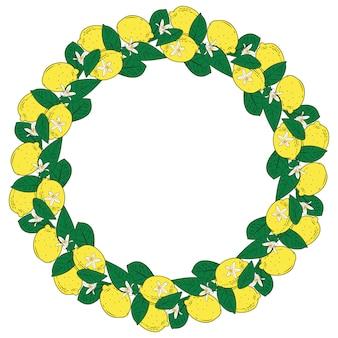 Frutti tropicali di agrumi limone con cornice rotonda di fiori. estate sfondo colorato