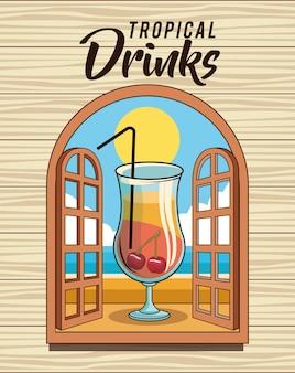Poster di bevanda cocktail tropicale