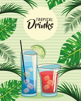 Poster di bevande cocktail tropicale