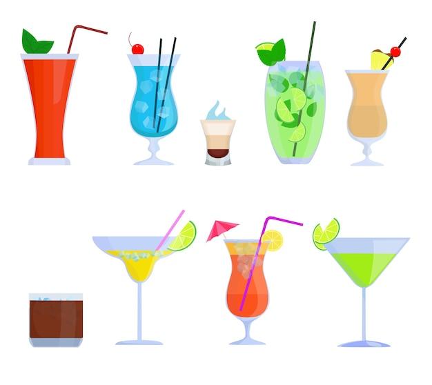 Cocktail tropicali, succhi di frutta, set di bicchieri per bevande. cocktail alcolici bloody mary, mojito, pina colada