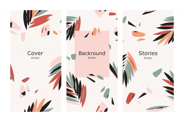 Design tropicale con foglie di palma per storie
