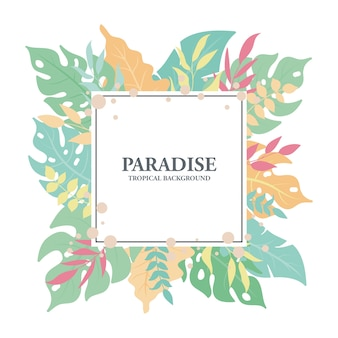 Fondo quadrato delle foglie esotiche tropicali, foglie carine e composizione floreale