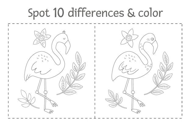 Tropicale trova differenze e gioco di colori per i bambini. attività prescolare tropicale in bianco e nero di estate con il fenicottero. pagina da colorare divertente per i bambini