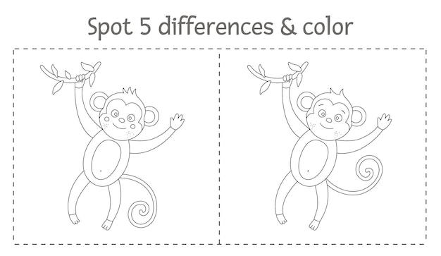 Tropicale trova differenze e gioco di colori per i bambini. attività prescolare tropicale in bianco e nero di estate con la scimmia. pagina da colorare divertente per i bambini