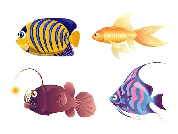 Insieme realistico di pesci tropicali. set multicolore di nove diversi tipi di pesci della barriera corallina.