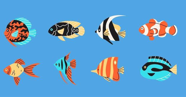 Collezione di elementi semplici di pesci tropicali