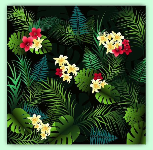 Fondo senza cuciture floreale tropicale del modello di vettore.
