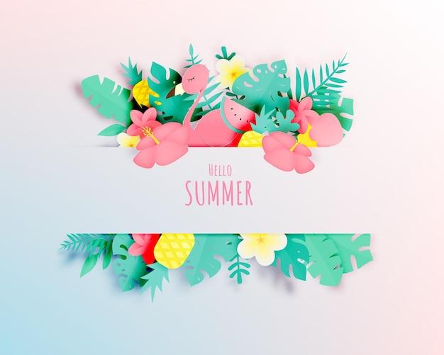 Floreale tropicale con stile art paper e colori pastello
