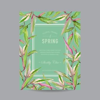 Cornice colorata di fiori tropicali - per invito, matrimonio, carta per baby shower