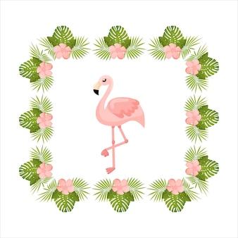 Invito floreale esotico con sfondo grafico per banner estivi con fiori tropicali e fenicotteri