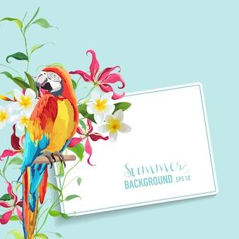 Fiori e foglie tropicali, grafica di uccelli pappagalli