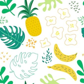 Modello di foglie e fiori tropicali, copertura estiva esotica, sfondo retrò senza cuciture di ananas in vector