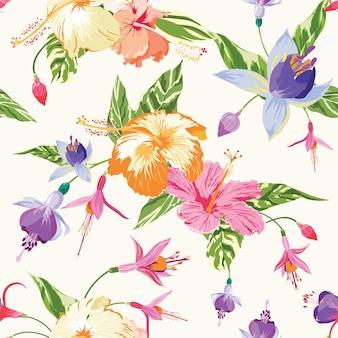 Modello senza cuciture d'annata delle foglie e dei fiori tropicali