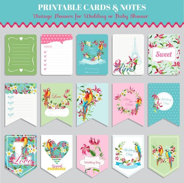 Set di carte con fiori tropicali e uccelli pappagallo. etichette per compleanni, matrimoni, baby shower. disegno vettoriale. illustrazione di estate.