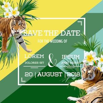 Carta di matrimonio estivo con fiori tropicali e tigre, save the date, invito floreale esotico