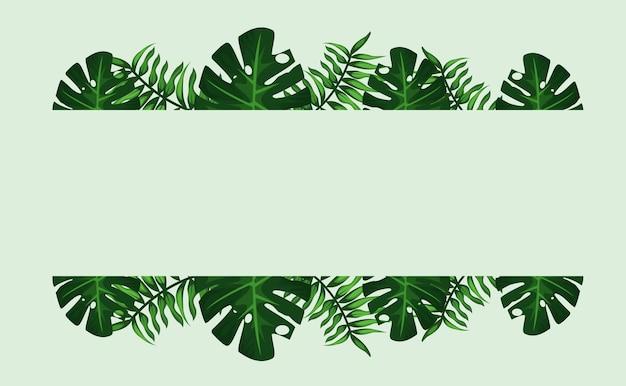 Cornice tropicale decorativa con foglie verdi