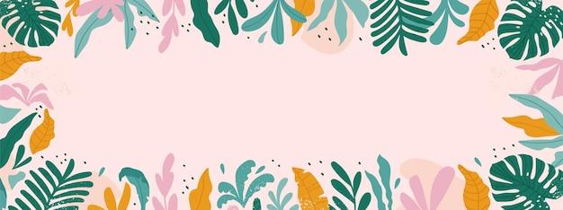 Cornice tropicale con spazio per il testo. sfondo con piante e foglie tropicali