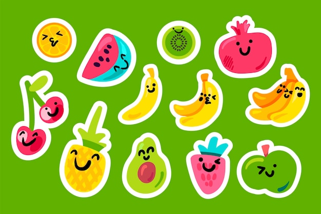 Pacchetto kawaii del fumetto di frutti tropicali. adesivi con illustrazione vettoriale di frutti sorridenti, toppe su blu