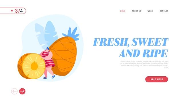 Modello di pagina di destinazione di dieta di frutti tropicali