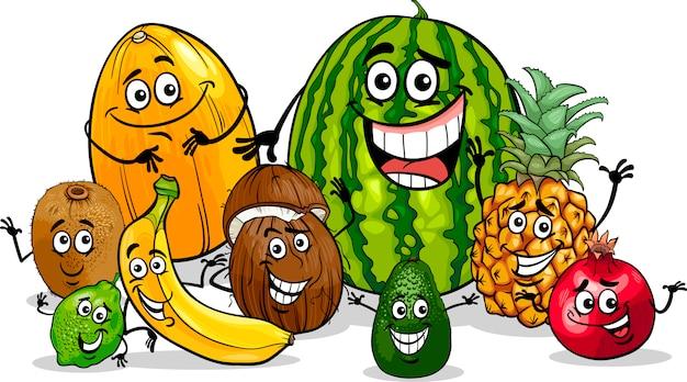 Illustrazione del fumetto del gruppo di frutti tropicali